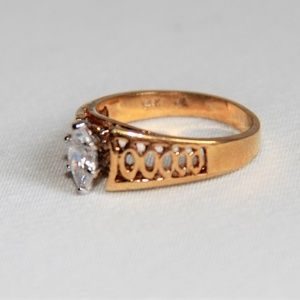 Jewelry - Solitaire Marquis 1 Carat CZ/14Kt Gold Ring